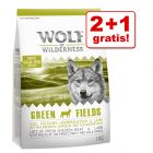 2 + 1 gratis! Wolf of Wilderness karma sucha, 3 x 1 kg