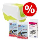 Startpakket Savic Kattenbak Nestor + 2 stuks vervangingsfilter + Savic Bag it Up Litter Tray Bags