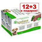 12 + 3 в подарок! Applaws Dog Paté в лотках 15 x 150 г