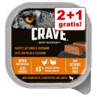 2 + 1 på köpet! 3 x 300 g Crave Adult Dog Paté