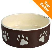 Trixie keramikskål, brun med vitt tasstryck (0,3 l, Ø 12 cm)