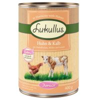 6 x 400g Lukullus Junior Dog Food - Chicken & Veal