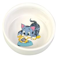 0.3l Ceramic Cat Bowl with Cartoon