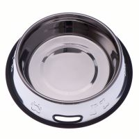 0.9l Embossed Stainless Steel Dog Bowl with Rubber Ring