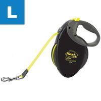 Lesă flexi Giant Professional - neagră / galben neon, 10 m