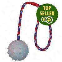 Ø 6 cm Balle en caoutchouc avec corde 30 cm
