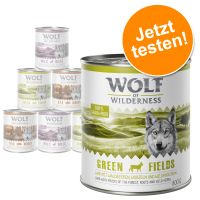 6 x 300 g Mix-Paket Wolf of Wilderness Adult Schale, Rind, Pute, Lamm, Ente