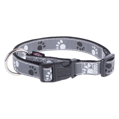 Size S-M Trixie Reflective Paws Dog Collar - Silver