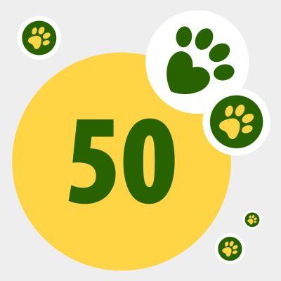 Donazione in aiuto in animali bisognosi: 50 punti