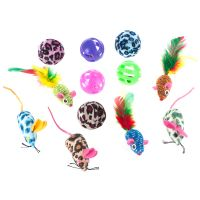 12-teiliges Katzenspielzeug-Set mit Bällen & Mäusen