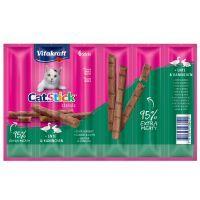 6 x 6 g Vitakraft Cat Stick Classic, canard & lapin