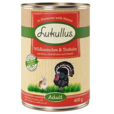 6 x 400g Lukullus Dog Food - Wild Rabbit & Turkey