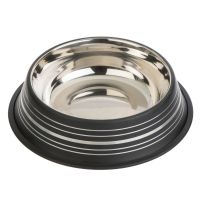 Silver Line mattsvart kattskål i rostfritt stål, 450 ml, Ø 20 cm