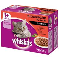 Multipack Whiskas 1+ Adult Φακελάκια Κλασική Ποικιλία σε Σάλτσα 12 x 100 g