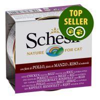 85 g Schesir comida para gato: frango, vaca e arroz