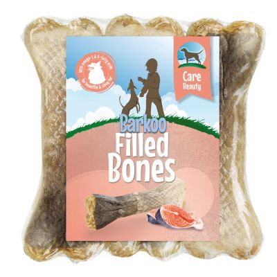 6 x 12cm Barkoo Filled Chew Bone – Beauty (with Salmon)