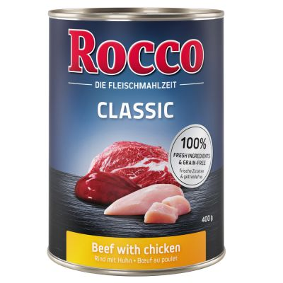 6 x 400g Rocco Classic Dog Food - Pure Beef