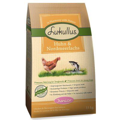 Lukullus Junior poulet, saumon pour chiot - 1,5 kg