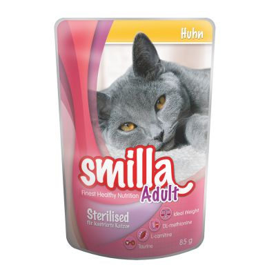 12 x 85g Smilla Adult Sterilised Cat Food Pouches Mixed Pack