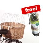 Aumüller Bicycle Basket with Protective Wire + Rain Cover Free!