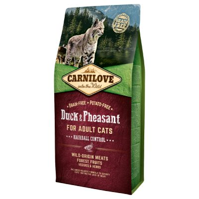 Carnilove Adult Hairball Control canard, faisan pour chat
