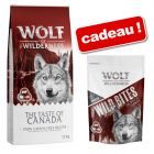 Croquettes Wolf of Wilderness 12 kg + friandises Bouchées ou Wild Bites 180 g offertes !