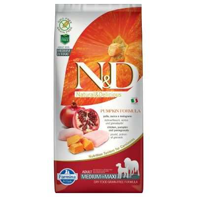Farmina N&D Grain Free Pumpkin Adult Medium/Maxi Pollo, Zucca e Melograno