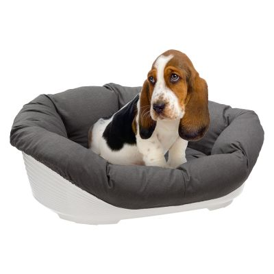 Ferplast Siesta Deluxe White Dog Basket with Cover – Anthracite