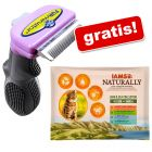 FURminator deShedding Tool gatti + 12 x 85 g IAMS Naturally Cat Adult Mix