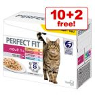 85g Perfect Fit Adult 1+ Pouches – Meat & Fish in Sauce - 10 + 2 Free!*