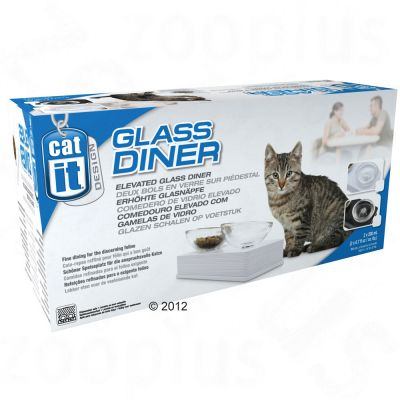 Gamelle double Catit Design Glass Diner, blanc