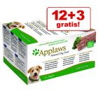 12 + 3 Gratis! Applaws Dog Paté, 15 x 150 g