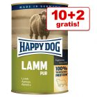 10 + 2 gratis! Happy Dog Pure, 12 x 400 g