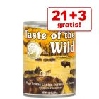 21 + 3 gratis! Taste of The Wild, 24 x 374 / 390 g