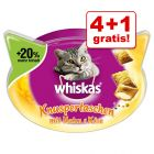 4 + 1 gratis! 5 x 48 / 66 / 72 g Whiskas Snacks