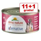 11 + 1 gratis! 12 x 70 g Almo Nature HFC Alternative Dog