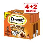 4 + 2 gratis! 6 x 25 g Dreamies Deli-Catz Snacks