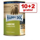10 + 2 gratis! 12 x 400 g Happy Dog Pur Nassfutter