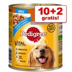 10 + 2 gratis! 12 x 400 g Pedigree