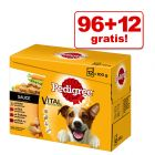 96 + 12 gratis! 108 x 100 g Pedigree Pouch Multipack