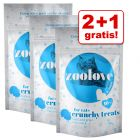 2 + 1 gratis! 3 x 60 g zoolove crunchy treats til katte - Winter Edition