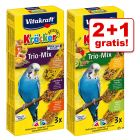 2 + 1 gratis! 3 x 3 Vitakraft Kräcker Wellensittiche Trio-Mix