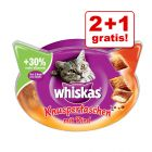 2 + 1 gratis! 3 x Whiskas Snacks