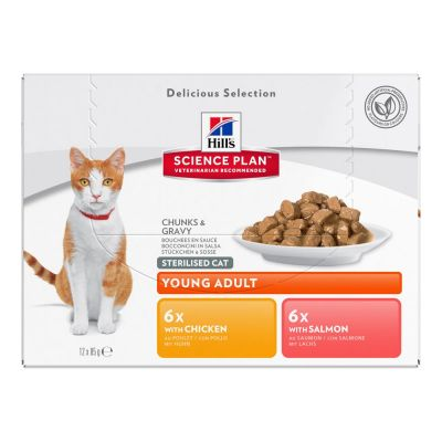 Hill's Young Adult Sterilised Cat 12 x 85 g para gatos - Pack mixto