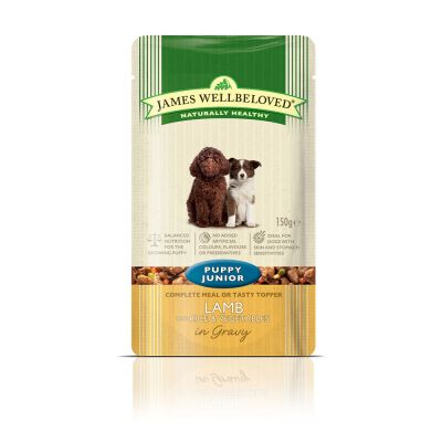 James Wellbeloved Puppy & Junior Pouches - Lamb with Rice