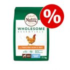 9 kg + 2 kg gratis! 11 kg Nutro Wholesome Essentials Adult Hund Huhn & Reis