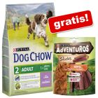 2,5 kg Dog Chow Hondenvoer + 120 g Adventuros Snacks gratis!
