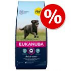 15 + 3 kg gratis! 18 kg Eukanuba Adult und Puppy Large und Medium Breed der Sorte Huhn