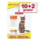10 + 2 kg gratis! 12 kg Hill's Science Plan tørfoder