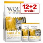 12 + 2 kg gratis! 14 kg Wolf of Wilderness tørfoder